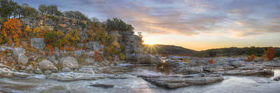 Pedernales Falls Autumn Panorama From The Hill Country Print by Rob Greebon