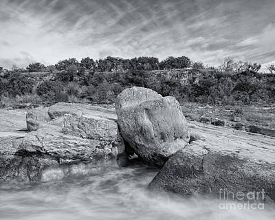 Pedernales River Falls In Black And White - Texas Hill Country Print by Silvio Ligutti