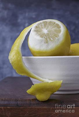 Peeled Lemon In Bowl Print by Edward Fielding