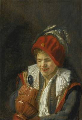 Tankard Painting - Peering Into An Earthenware Tankard by Judith Leyster