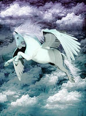 Pegasus Mixed Media - Pegasus Blue by Quim Abella