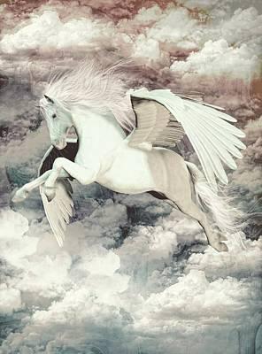 Pegasus Mixed Media - Pegasus Flight Olympus by Quim Abella