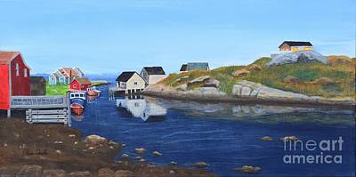 Docking Painting - Peggy's Cove by Alicia  Fowler