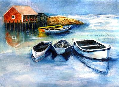 Dingy Painting - Peggys Cove Frozen In Chance Of Snow by Randy Sprout