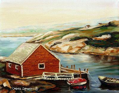 Early California Landscape Painting - Peggys Cove Nova Scotia Landmark by Carole Spandau