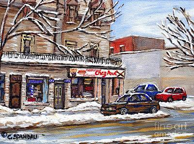 Local Restaurants Painting - Peintures Petits Formats A Vendre Montreal Original Art For Sale Restaurant Chez Paul The Pointe Psc by Carole Spandau