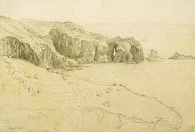 Pele Drawing - Pele Point, Land's End by Samuel Palmer