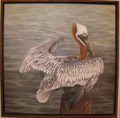 Pelican 3 Brown Print by Judy Merrell