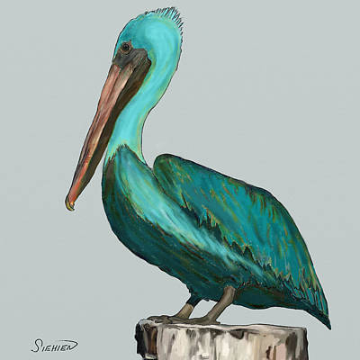 Nautical Jewelry Painting - Pelican Bellican by Patti Siehien