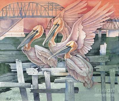Peaches Painting - Pelicans At Audobon Island by Paul Brent