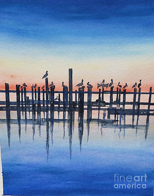 Painting - Pelicans At Dusk by Catherine Wilson