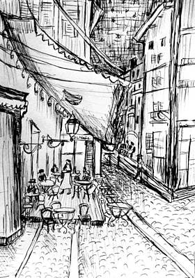 Pen Sketch Of Cafe Terrace At Night Print by Hae Kim