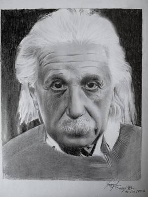 Einstein Drawing - Pencil Drawing Of Albert Einstein by Imad Elm