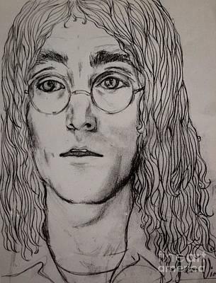 John Lennon Art Drawing - Pencil Portrait Of John Lennon  by Joan-Violet Stretch