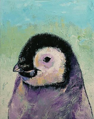 Penguin Painting - Penguin Chick by Michael Creese