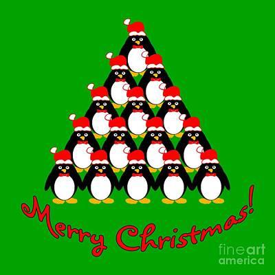Penguin Digital Art - Penguin Christmas Tree by Methune Hively