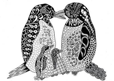 Penguin Drawing - Penguin Family by Sharon White