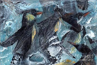Encaustic Painting - Penguin Pool by Carol Ellis