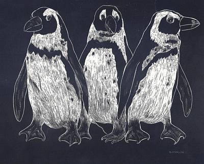Scratchboard Painting - Penguins by Cynthia Conklin