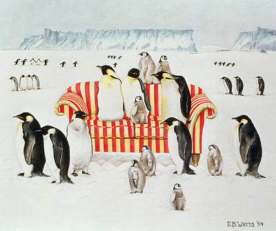 Icebergs Painting - Penguins On A Red And White Sofa  by EB Watts