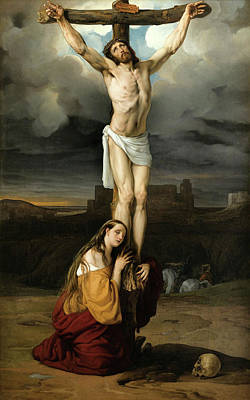 Hayez Painting - Penitent Magdalene At The Foot Of The Cross by Francesco Hayez