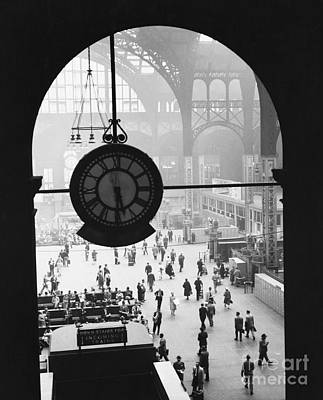 Train Photograph - Penn Station Clock by Van D Bucher and Photo Researchers