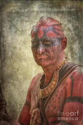 Huron Indian Digital Art - Penns Colony Reenactor Portrait by Randy Steele