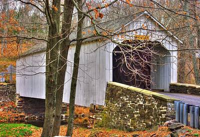 Sutton Photograph - Pennsylvania Country Roads - Loux Covered Bridge Over Cabin Run Creek No. 2a - Autumn Bucks County by Michael Mazaika