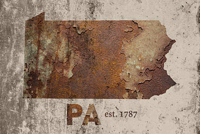 Pennsylvania State Map Industrial Rusted Metal On Cement Wall With Founding Date Series 011 Print by Design Turnpike