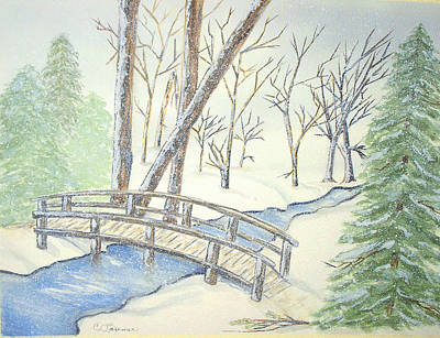 Pennsylvania Winter With Bridge Print by Constance Larimer