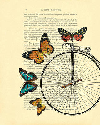 Penny Farthing Digital Art - Penny Farthing With Butterflies by Madame Memento