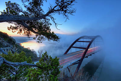 Illuminated Photograph - Pennybacker Bridge In Morning Fog by Evan Gearing Photography
