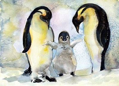 Penquins Painting - Penquin Family by Mindy Newman