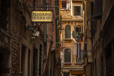 Window Signs Photograph - Pensione Guerrato by Chris Fletcher