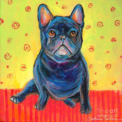 Custom Dog Portrait Painting - Pensive French Bulldog Painting Prints by Svetlana Novikova