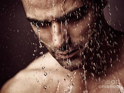 Pensive Man Face Under Showering Water Print by Oleksiy Maksymenko