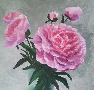 Purple Flowers Painting - Peonies by Angelina Sofronova