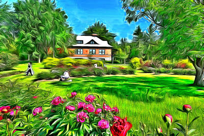 Impressionism Digital Art - Peonies At The Ornamental Gardens by Jean-Marc Lacombe