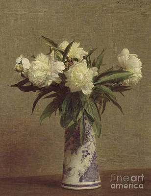 Pottery Painting - Peonies In A Blue And White Vase by Ignace Henri Jean Fantin-Latour