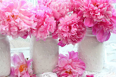 Mason Jars Photograph - Peonies In White Mason Jars - Romantic Bright Pink Peonies  by Kathy Fornal