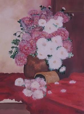 Lassen Painting - Peonies On Velvet by Traci Hallstrom