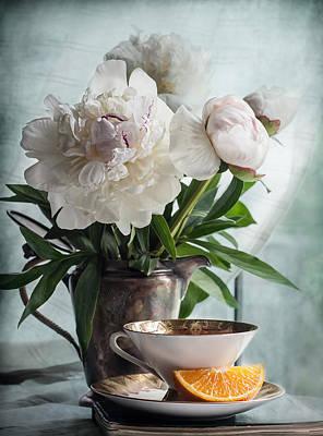 Teapot Photograph - Peonies Tea And Oranges by Maggie Terlecki
