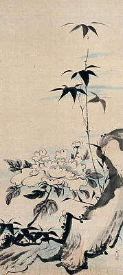 Flower Painting - Peony And Bamboo By A Rock by Eastern Accent