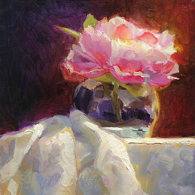 Impressionistic Still Life Painting - Peony Glow  Colorful And Edgy Still Life by Karen Whitworth