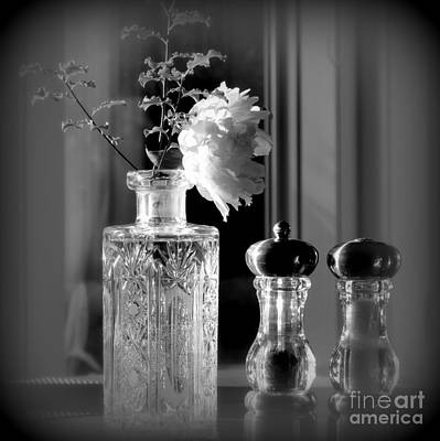 Still Life Photograph - Peony In A Crystal Vase On The Dining Table by Tanya  Searcy