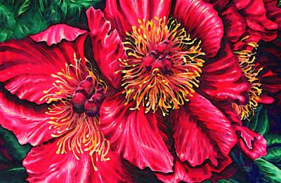 Juul Painting - Peony In Bloom by Margaret Juul