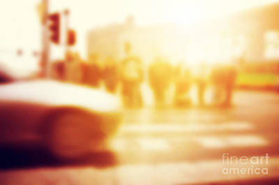 Retro Photograph - People About To Cross The Street by Michal Bednarek