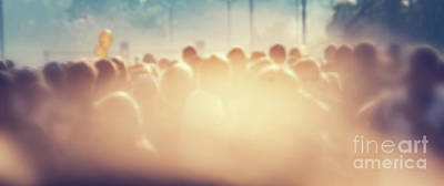 Light Photograph - People Crowd In The Morning, Sun Flare. Blur Background Banner by Michal Bednarek