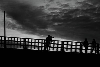 Black And White Painting - People On The Bridge by Bob Orsillo
