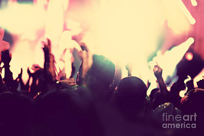 Applaud Photograph - People With Hands Up In Night Club by Michal Bednarek